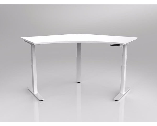 OLG Agile Electric Height Adjustable 120 Degree Workstation White Frame Standing Desks Dunn Furniture - Online Office Furniture for Brisbane Sydney Melbourne Canberra Adelaide