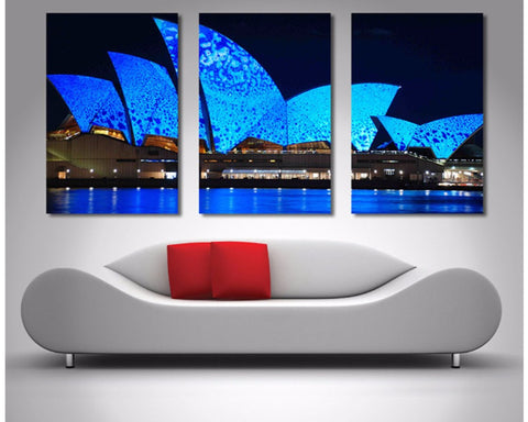 Blue Opera House Triptych 3 Piece Wall Art 3 Piece Wall Art Dunn Furniture - Online Office Furniture for Brisbane Sydney Melbourne Canberra Adelaide
