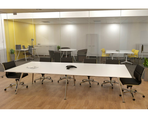 OLG Team Boardroom Table White Worktop Polished Alloy Frame Boardroom Tables Dunn Furniture - Online Office Furniture for Brisbane Sydney Melbourne Canberra Adelaide