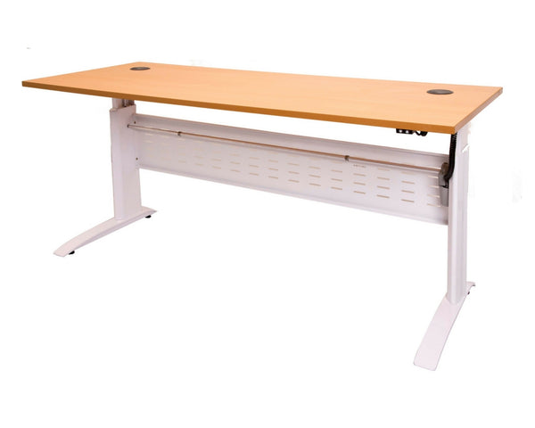 Rapidline Rapid Span Electric Height Adjustable Desk in Beech and White Standing Desks Dunn Furniture - Online Office Furniture for Brisbane Sydney Melbourne Canberra Adelaide