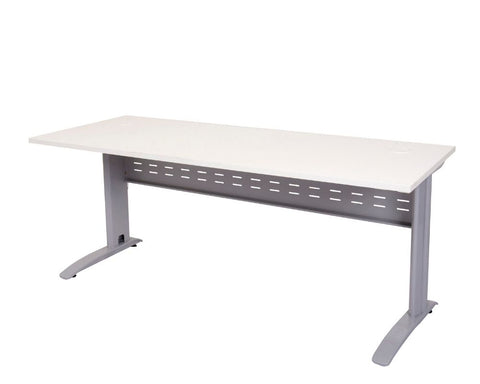 Rapidline Rapid Span Desk in White with Silver Frame Computer Desks Dunn Furniture - Online Office Furniture for Brisbane Sydney Melbourne Canberra Adelaide