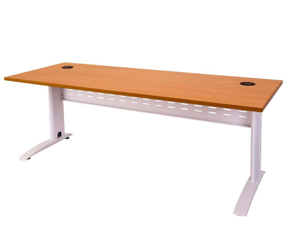 Rapidline Rapid Span Desk in Beech with White Frame Computer Desks Dunn Furniture - Online Office Furniture for Brisbane Sydney Melbourne Canberra Adelaide