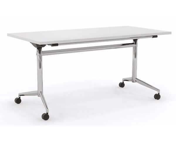 OLG Uni Flip Table White With Chrome Frame Meeting Tables Dunn Furniture - Online Office Furniture for Brisbane Sydney Melbourne Canberra Adelaide