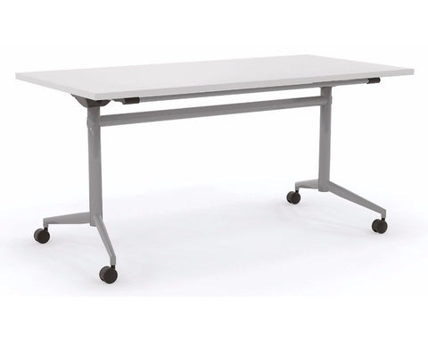 OLG Uni Flip Table White With Silver Frame Meeting Tables Dunn Furniture - Online Office Furniture for Brisbane Sydney Melbourne Canberra Adelaide