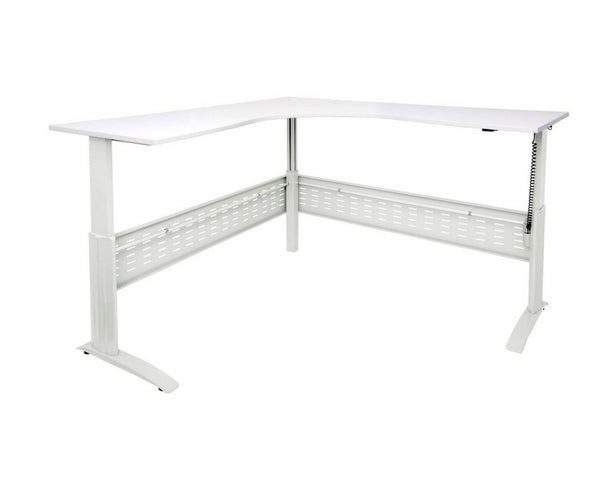 Rapidline Rapid Span Electric Height Adjustable Corner Workstation White with White Frame Standing Desks Dunn Furniture - Online Office Furniture for Brisbane Sydney Melbourne Canberra Adelaide
