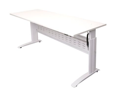 Rapid Span Electric Height Adjustable Desk in White Standing Desks Dunn Furniture - Online Office Furniture for Brisbane Sydney Melbourne Canberra Adelaide