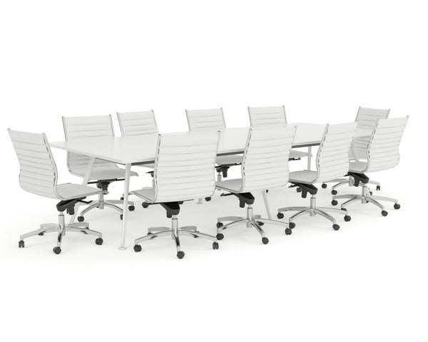 OLG Team Boardroom Table White Worktop White Frame Boardroom Tables Dunn Furniture - Online Office Furniture for Brisbane Sydney Melbourne Canberra Adelaide