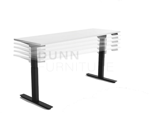 OLG Agile Electric Height Adjustable Desk Black Frame - 3 Column Standing Desks Dunn Furniture - Online Office Furniture for Brisbane Sydney Melbourne Canberra Adelaide