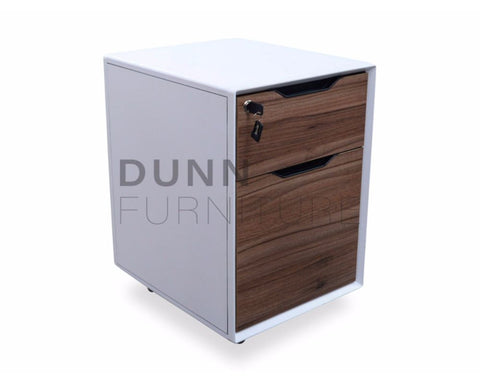 Immerse Mobile Pedestal 2 Drawers Walnut Mobile Storage Units Dunn Furniture - Online Office Furniture for Brisbane Sydney Melbourne Canberra Adelaide