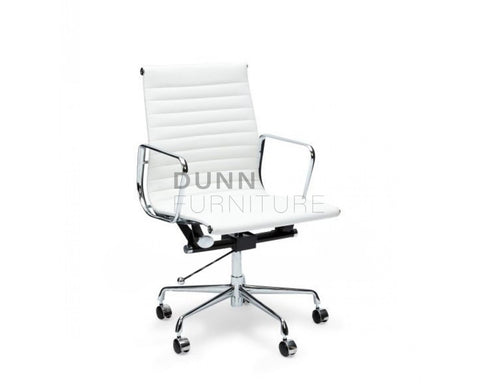 Management Leather Office Chair Eames Replica White Task Chairs Dunn Furniture - Online Office Furniture for Brisbane Sydney Melbourne Canberra Adelaide