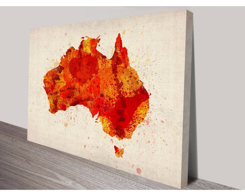 Red Australia Typographic Text Map By Michael Tompsett Wall Art Impact Imagery Dunn Furniture - Online Office Furniture for Brisbane Sydney Melbourne Canberra Adelaide