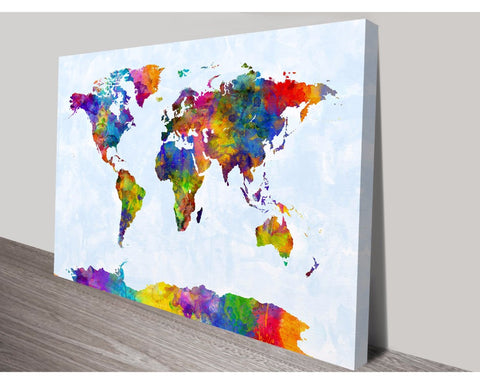 Watercolour World Map By Michael Tompsett Wall Art Impact Imagery Dunn Furniture - Online Office Furniture for Brisbane Sydney Melbourne Canberra Adelaide