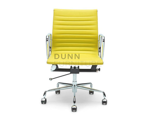 Magnificent Management Leather Office Chair Eames Replica Yellow Evergreenethics Interior Chair Design Evergreenethicsorg