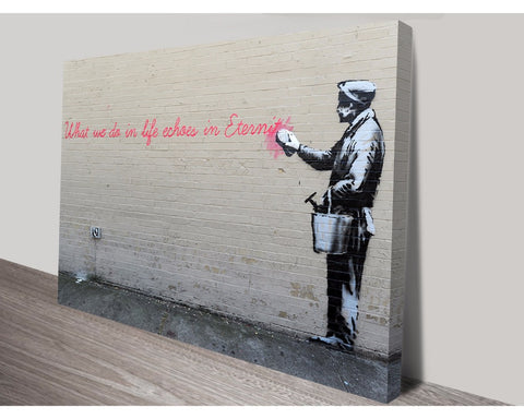 What We Do In Life By Banksy Wall Art Banksy Dunn Furniture - Online Office Furniture for Brisbane Sydney Melbourne Canberra Adelaide
