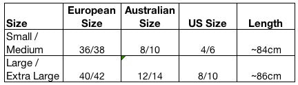 Uppermoda Croatian Dress Size Guide