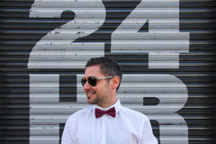 Men's Maroon Polka Dot Bow Tie at Uppermoda