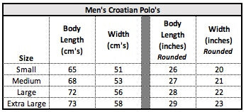 Men's Croatian Polo Dimensions