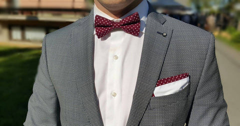 Maroon Polka Dot Bow Tie and Pocket Square at Uppermoda