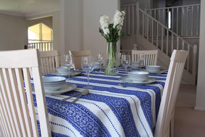 6 Seater - Blue Diamonds Croatian Tablecloth Tablecloths Uppermoda