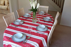 6 Seater - Red Diamonds Croatian Tablecloth Tablecloths Uppermoda