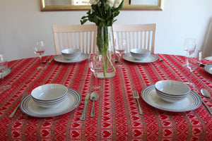 6 Seater - Red Hearts Croatian Tablecloth Tablecloths Uppermoda