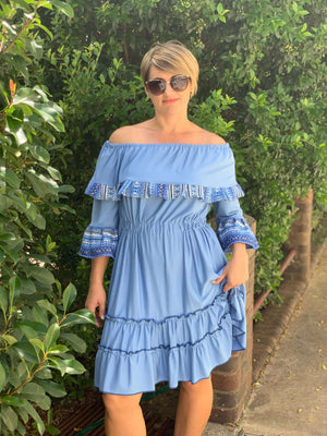 Croatian Blue Off the Shoulder Dress with Adriatic Pattern - Volosko