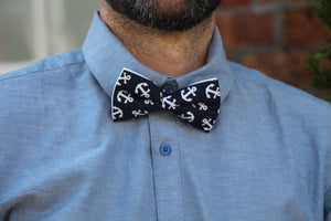 Anchor Bow Tie & Pocket Square Bow Tie Uppermoda