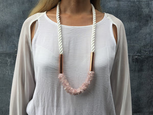 Athena necklace - white rope & rose quartz stones necklace Uppermoda