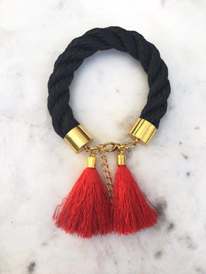 Black Rope Tassel Bracelets bracelet Uppermoda red