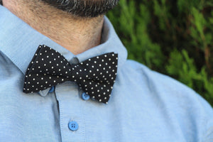 Black with Polka Dots Bow Tie & Pocket Square Bow Tie Uppermoda