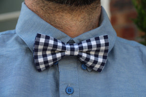 Blue Checkers Bow Tie Bow Tie Uppermoda