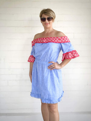 Blue Croatian Off the Shoulder Dress - Opatija Riviera Dress Uppermoda