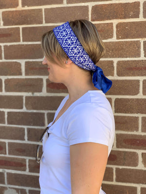 Blue Zaprešić Pattern Fabric Headband headband Uppermoda