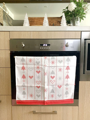 Christmas Croatian Kitchen Tea Towel Pack of 2 - Red & Silver Christmas Tea Towel Uppermoda