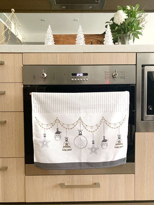 Christmas Croatian Kitchen Tea Towel Pack of 3 - Silver & Gold Tea Towel Uppermoda
