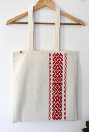 Cotton bag - Red Etno Pattern tote Uppermoda
