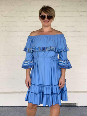Croatian Blue Off the Shoulder Dress with Adriatic Pattern - Volosko Dress Uppermoda