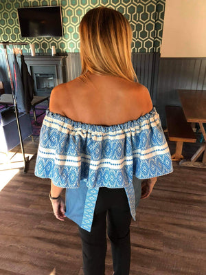 Croatian Blue Ragusa Off the Shoulder Blue Top - Zadar Peek-a-Boo Back Top Uppermoda