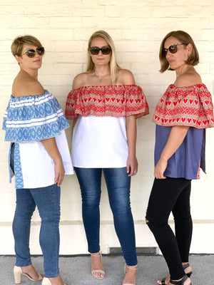 Croatian Blue Ragusa Off the Shoulder White Top - Zadar Peek-a-Boo Back Top Uppermoda