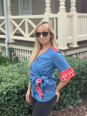 Croatian Cotton Blend Red Hearts Wrap Top - Zagreb Top Uppermoda
