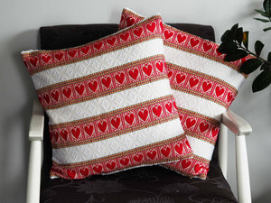 Croatian Cushion Cover - Red Hearts Skip a Beat Cushion Cover Uppermoda