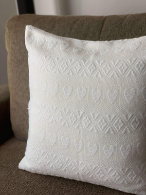 Croatian Cushion Cover - White Hearts Cushion Cover Uppermoda