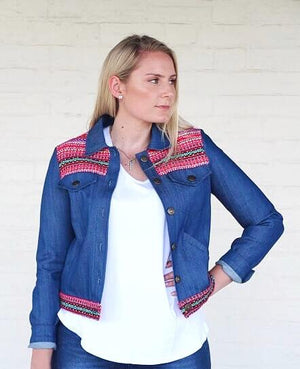 Croatian Denim Jean Jacket - Red Folklore Jacket Uppermoda