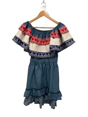 Croatian Mini Dress with Red, White and Blue Hearts - Hrvatica Dress Uppermoda