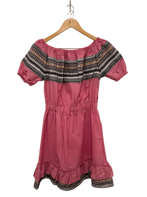 Croatian Pink Off the Shoulder Dress with Pink Folklore Pattern - SAMPLE Dress Uppermoda