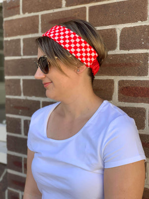Croatian Red Checkers Fabric Headband headband Uppermoda