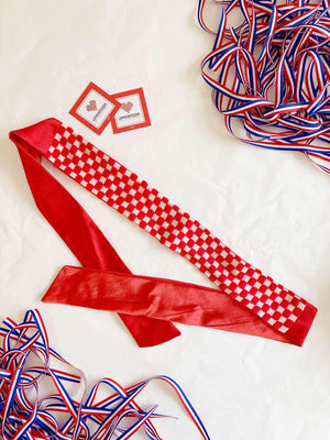 Croatian Red Checkers Fabric Headband headband Uppermoda Satin tie back
