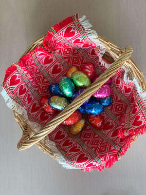 Croatian Red Hearts Easter Basket Runner Table Runner Uppermoda