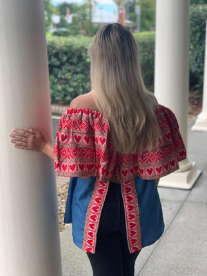 Croatian Red Hearts Off the Shoulder Blue Top - Zadar Peek-a-Boo Back Top Uppermoda