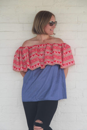 Croatian Red Hearts Off the Shoulder Dark Blue Top - Zadar Peek-a-Boo Back Top Uppermoda
